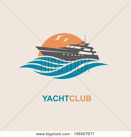image of motorboat icon on waves. Vector illustration