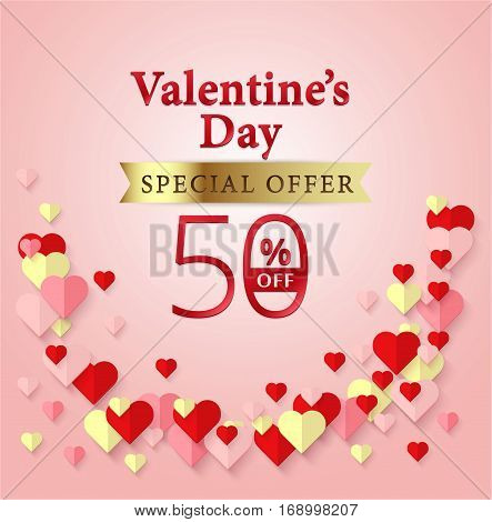 Valentine's Day Special Offer 50% Off Design On Pink Background And Heart Element. Vector Banner Bac