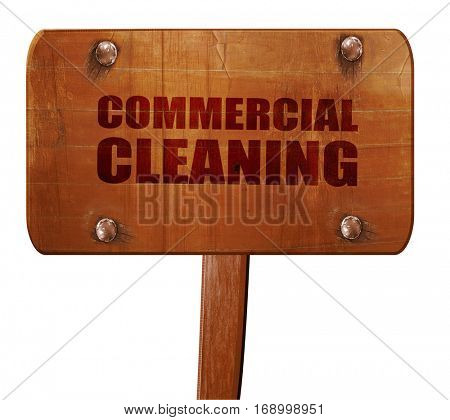 commercial cleaning, 3D rendering, text on wooden sign