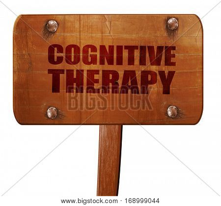 cognitive therapy, 3D rendering, text on wooden sign