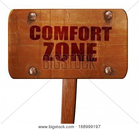 comfort zone, 3D rendering, text on wooden sign