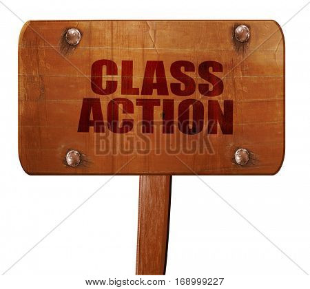 class action, 3D rendering, text on wooden sign