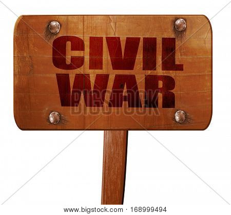 civil war, 3D rendering, text on wooden sign