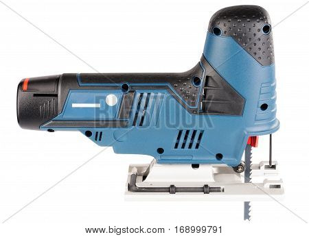 Electrical fretsaw side view isolated on the white background