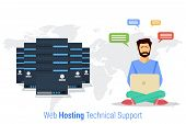 Vector concept of Web Hosting Technical Support. Web man administrator with computer and technical support in flat style poster