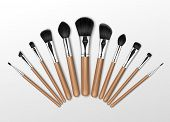 Vector Set of Black Clean Professional Makeup Concealer Powder Blush Eye Shadow Brow Brushes with Wooden Handles Isolated on White Background poster