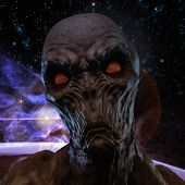 Digital 3D rendering of a creepy monster poster