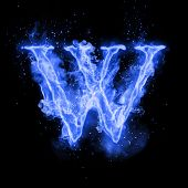 Fire letter W of burning blue flame. Flaming burn font or bonfire alphabet text with sizzling smoke and fiery or blazing shining heat effect. Incandescent cold fire glow on black background poster