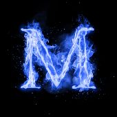 Fire letter M of burning blue flame. Flaming burn font or bonfire alphabet text with sizzling smoke and fiery or blazing shining heat effect. Incandescent cold fire glow on black background poster