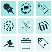 Set Of 9 Ecommerce Icons. Includes Present, Price Stamp, Ticket And Other Symbols. Beautiful Design Elements. poster