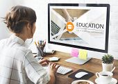 Distance learning online education webpage poster