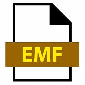 Use it in all your designs. Filename extension icon EMF Enhanced MetaFile in flat style. Quick and easy recolorable shape. Vector illustration a graphic element. poster