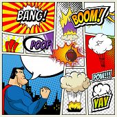 illustration of comic book page in pop art style with superhero, speech bubbles and comic strip on colorful halftone. Bang and boom sound. City Silhouette poster