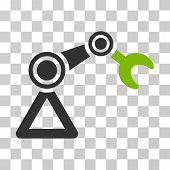 Manipulator Equipment icon. Vector illustration style is flat iconic bicolor symbol, eco green and gray colors, transparent background. Designed for web and software interfaces. poster