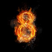 Fire number 8 eight of burning flame. Flaming burn font or bonfire alphabet text with sizzling smoke and fiery or blazing shining heat effect. Incandescent hot red fire glow on black background poster