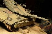 Modern israeli Merkava tanks in action - plastic model 1:72 scale - extremely closeup poster