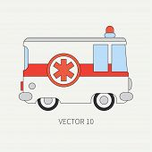 Line flat vector color icon ambulance car. Emergency assistance vehicle. Cartoon style. Reanimation. Maintenance. Paramedics. Medicine. Hospital. Rescue. Siren Illustration and element for design poster