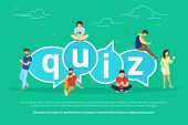 Quiz flat concept illustration of young people using mobile gadgets such smartphone for texting, messaging and answering questions via internet near quiz big bubbels with letters poster
