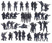 Set of police officers SWAT studio shot isolated on white background poster