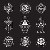Vector set of sacred geometry. Geometric icons, shapes and logos. Collection of symbols ethnic, religion, alchemy, philosophy, spiritual, folk, Indian Hipster decorative elements Isolated signs poster