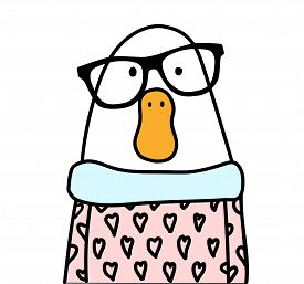 Funny cartoon white hipster goose wearing stylish black glasses. Goose has the funny orange beak and nice pink shirt. Cool goose for a logo, tattoo or design.