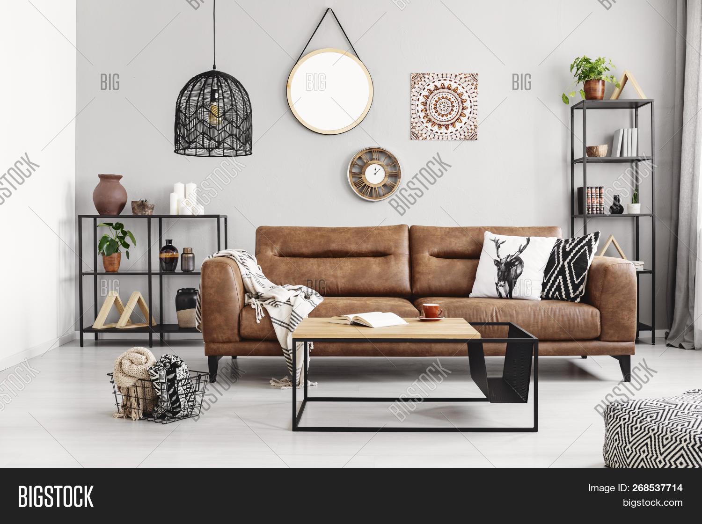 Leather Sofa Pillows Image Photo