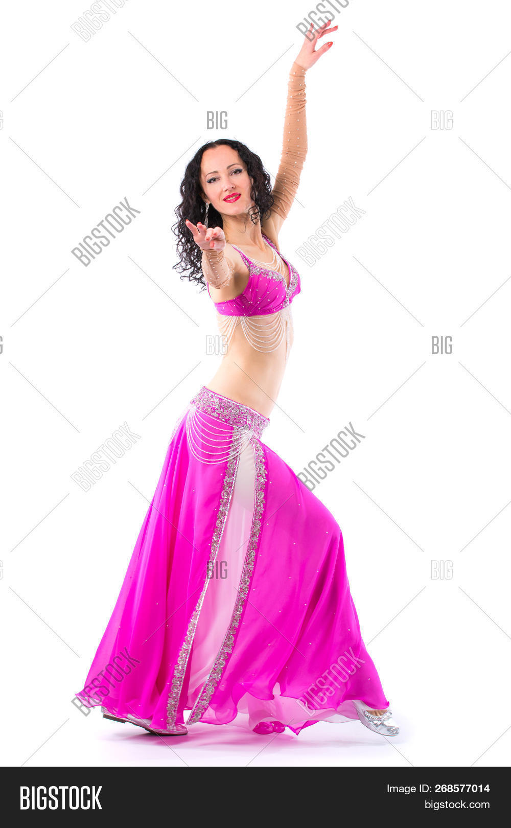 365f277115aaf Sexy Girl Dancing Belly Dance. Isolated On A White Background