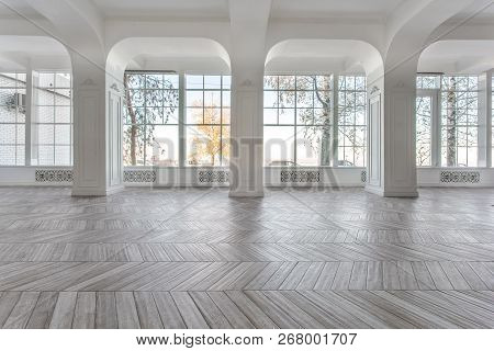 Morning In Luxurious Light Interior In Mansion . Bright And Clean Interior Design Of A Luxury Living