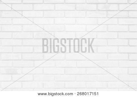 White And Gray Brick Wall Texture Background. Brickwork Or Stonework Flooring Interior Rock Old Patt