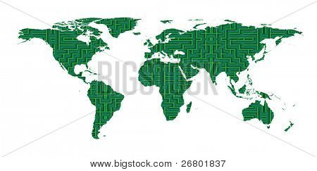 conceptual image of a world map and labyrinth