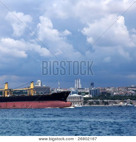 boat on bosphorus, marmara sea in istanbul, Turkey