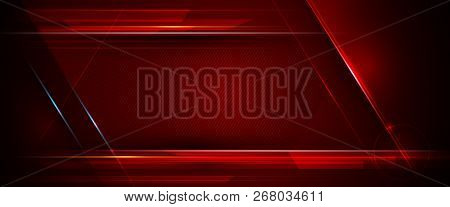 Illustration Of Abstract Red And Black Metallic With Light Ray And Glossy Line. Metal Frame Design F