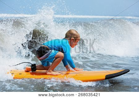 Happy Baby Boy - Young Surfer Ride On Surfboard With Fun On Sea Waves. Active Family Lifestyle, Kids