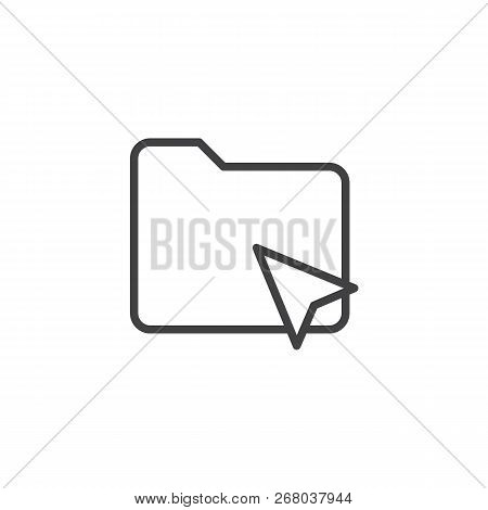 Cursor Click Folder Outline Icon. Linear Style Sign For Mobile Concept And Web Design. Click On Fold
