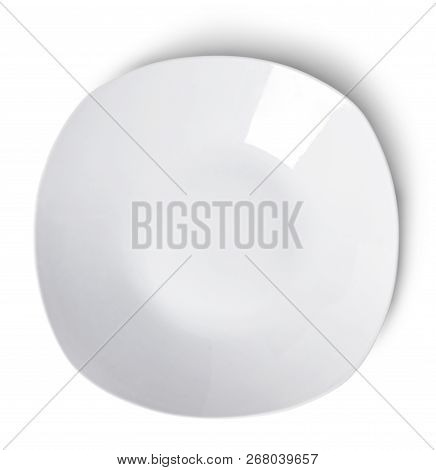 White Plate Or Dish Ware, Modern Porcelain Plate. Isolated Object On White Background. Elegant Plate