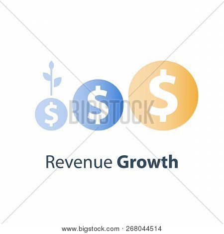 Dollar Coin From Small To Big, Investment Fund Planing, Bank Savings Account, Income Increase, Reven