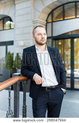 Young Business Man Outdoors Work Occupation Lifestyle, Waiting For A Meeting With The Client, Partne