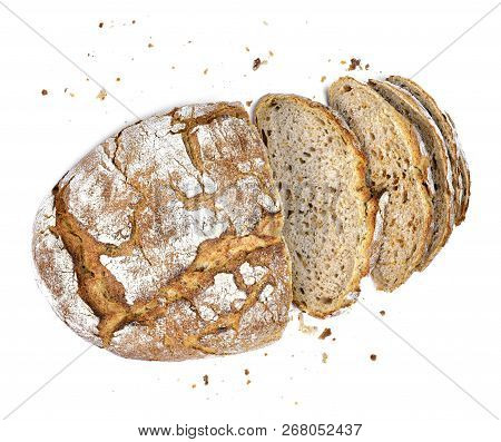 Fresh Rye Bread Or Whole Grain Bread. Isolated Object On White Background. Healthy Baked Bread, Whol