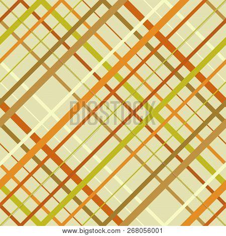 Seamless Cross Lines Madras Pattern. Diagonal Seamless Texture As A Tartan Plaid. Checkered Brown An