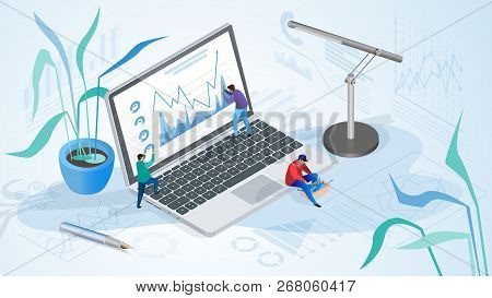 The Concept Of Company Time Management. Isometric Projection Of Vector Illustration Of Working Peopl