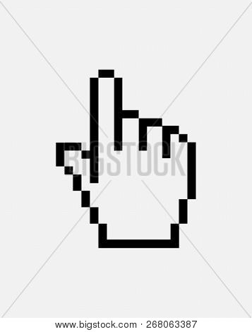 Pixel Hand. Hand Cursor Icon Flat. Hand Pointer Icon Flat Isolated Illustration. One Finger. Pixel H