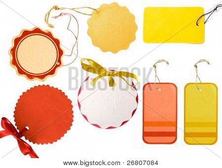 collection of yellow and red tags
