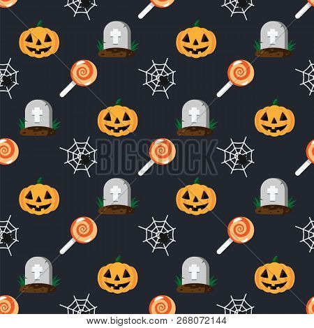 Halloween Holiday Pattern Grave In Cemetery, Orange Pumpkin, Spider And Cobweb, Sweet Candy Lollipop