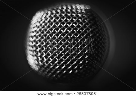 Microphone On Stage. Close-up Macro. Vintage Object