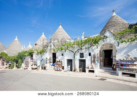 Alberobello, Apulia, Italy - June 1, 2017 - A Street With Souvenir Shops In The Old Town