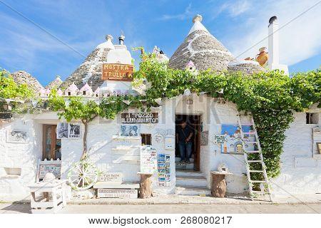 Alberobello, Apulia, Italy - June 1, 2017 - A Typical Souvenir Shop In The Old Town
