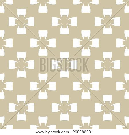 Golden Vector Seamless Pattern. Abstract Geometric Texture With Crosses, Floral Figures, Grid, Repea