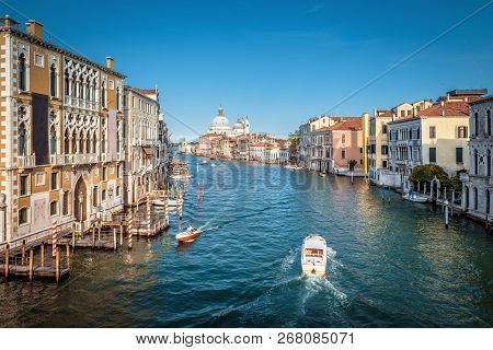 Grand Canal In Venice, Italy. It Is One Of The Main Tourist Attractions Of Venice. Panoramic View Of