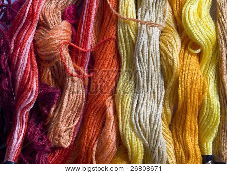 yellow and red yarns background