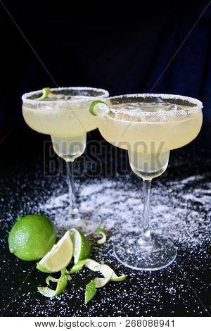 Salt Rimmed Margarita Cocktails With Lime And Salt